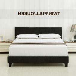 Twin Full Queen Faux Leather Platform Bed Frame & Slats Upho
