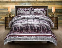 Twin Full Queen King Bed Gray Black Red White Snow Wolves Wo