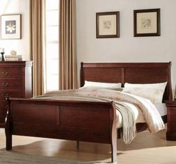 Twin Full Queen King Cherry Finish Wooden Sleigh Bed Frame H