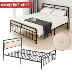 Twin Full Queen Metal Bed Frame 6 Leg PU Leather Button Tuft