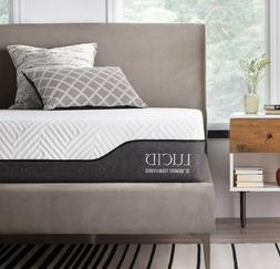 LUCID 10 Inch Twin Hybrid Mattress - Bamboo Charcoal and Alo