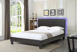 Upholstered Brown Queen Bed with Headboard LED Lights nightl