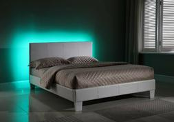 Upholstered Queen Bed with LED Lights in the Headboard for a