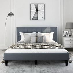 upholstered platform bed frame mattress with headboard