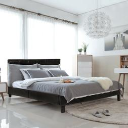 Upholstered Platform Bed Queen Panel Bed Frame Faux Leather