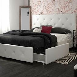 upholstered platform bed with storage drawers white
