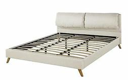 Upholstered Queen Size Platform Bed Frame w/ Plush Headboard