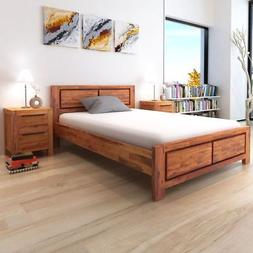 vidaXL Bed Frame Solid Acacia Wood Queen Size Wooden Brown B