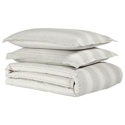 Stone & Beam Washed Linen Stripe Duvet Cover Set, Full/Queen