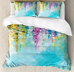 Ambesonne Watercolor Flower Home Decor Duvet Cover Set, Ivy