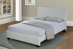 Home Life White Leather Platform Bed With Slats All Sizes