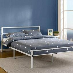 Zinus Geraldine 12 Inch White Metal Platform Bed Frame with