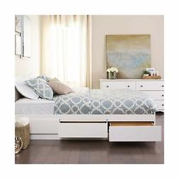 White Queen Mate's Platform Storage Bed with 6 Drawers Whi