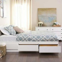Prepac Monterey Queen Platform Storage Bed with Drawers in W