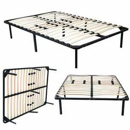 Wood Slats Metal Platform Bed Frame Mattress Foundation Twin