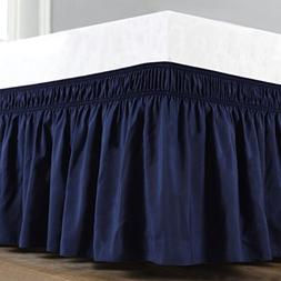 Biscaynebay Wrap Around Bed Skirt, Elastic Dust Ruffles, Eas