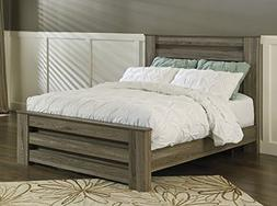 Signature Design Zelen Warm Gray Wood Queen Poster Bed by As